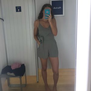 Olive Green Romper toe waist with pockets